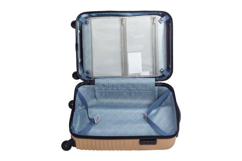 Fondo bianco isolato borsa aperta di viaggio dei bagagli fotografia stock libera da diritti