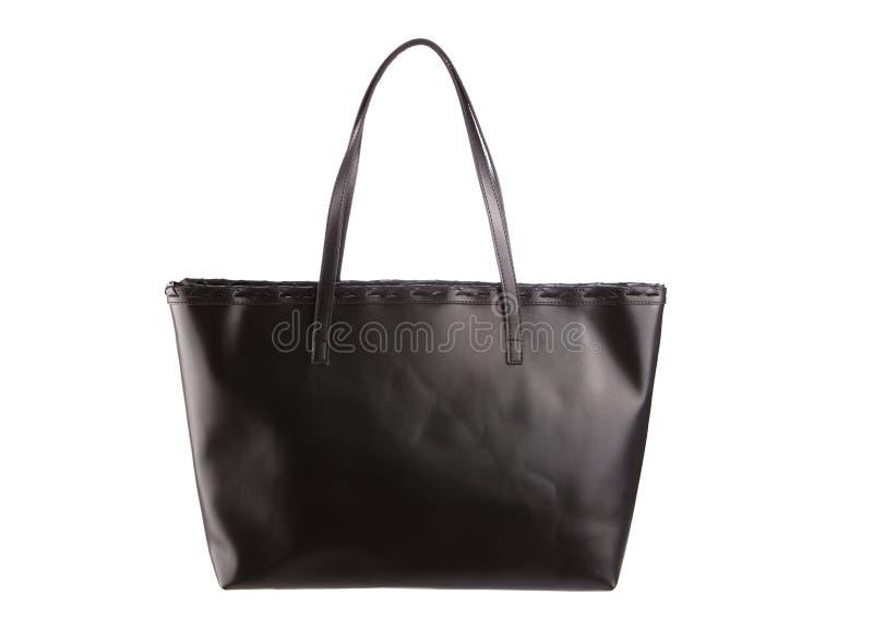 Fondo bianco isolato borsa nera della maniglia fotografia stock
