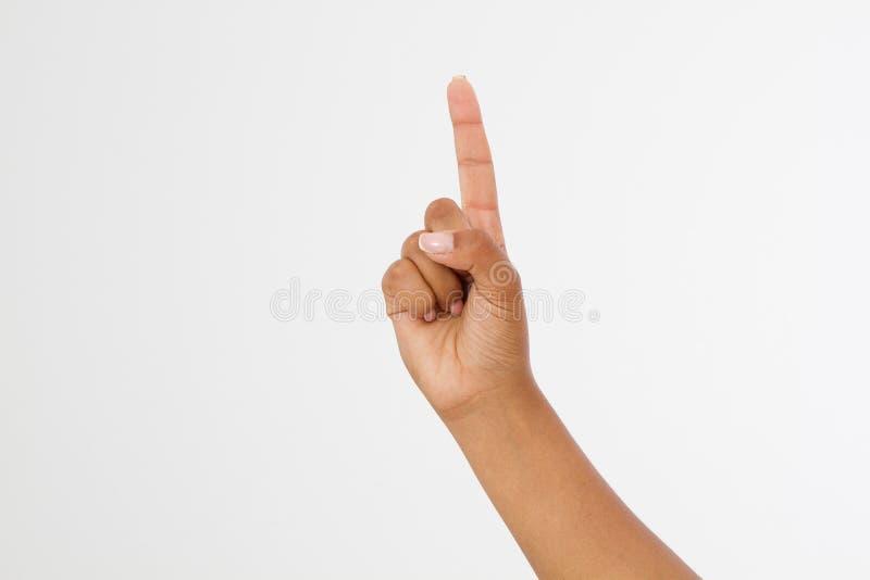 Fondo bianco isolato punto del dito mano afroamericana Derisione su Copi lo spazio mascherina blank immagine stock libera da diritti