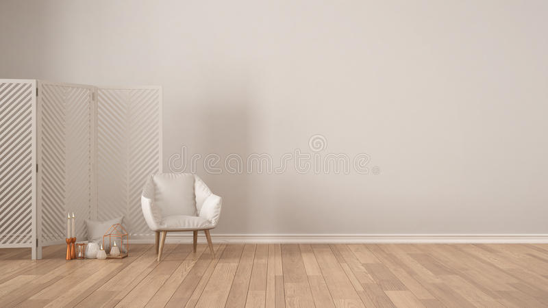 Fondo bianco minimalista scandinavo con la poltrona, schermo, fotografia stock libera da diritti