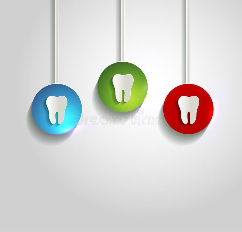 Fondo bianco sano di simbolo del dente illustrazione di stock