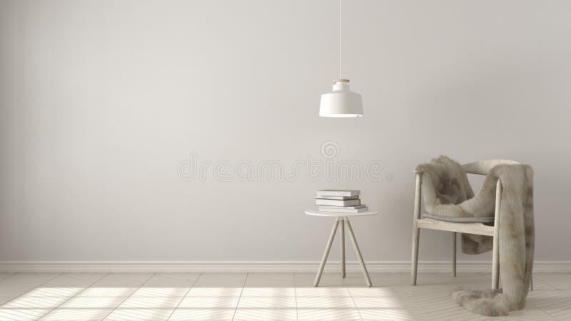 Fondo bianco scandinavo, con la lampada di pendente e della tavola sopra lui fotografia stock libera da diritti