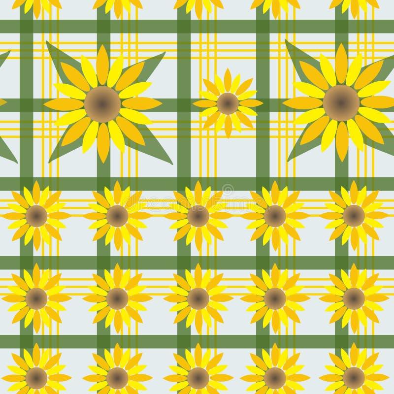 Fondo bianco senza cuciture in gabbia verde con i girasoli gialli illustrazione di stock