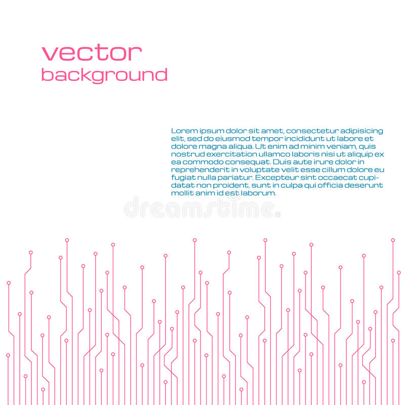 Fondo bianco tecnologico astratto con gli elementi del microchip illustrazione di stock