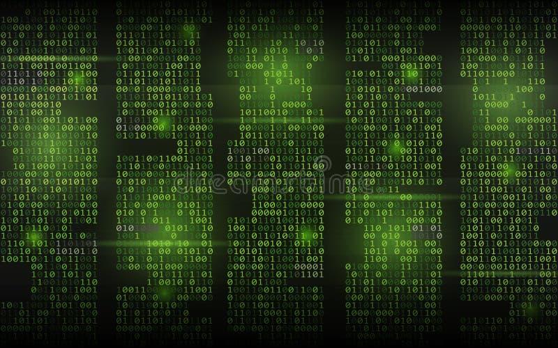 Fondo binario abstracto Código que fluye verde Columnas con los dígitos en el contexto oscuro Concepto cortado de la pantalla tre libre illustration