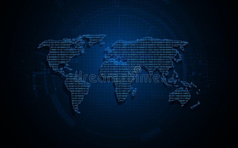 Fondo binario digitale di progettazione di codice della matrice della mappa di mondo illustrazione vettoriale