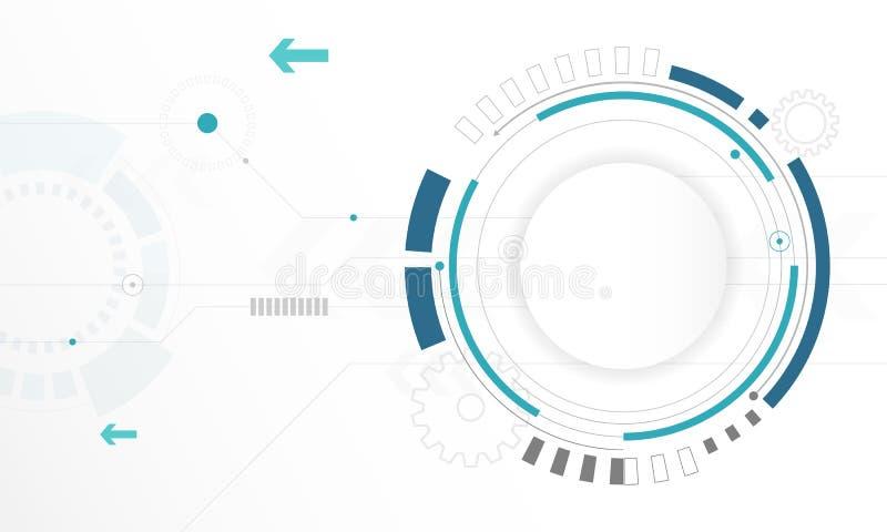 Fondo blanco abstracto de tecnología digital del círculo, fondo futurista del concepto de los elementos de la estructura stock de ilustración