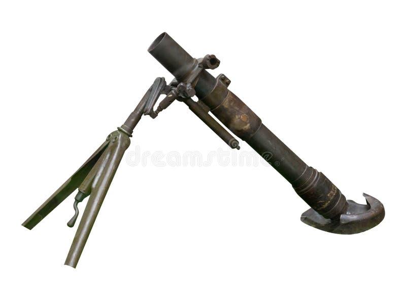 Fondo blanco aislado arma del cañón del mortero mortero de la Segunda Guerra Mundial imágenes de archivo libres de regalías