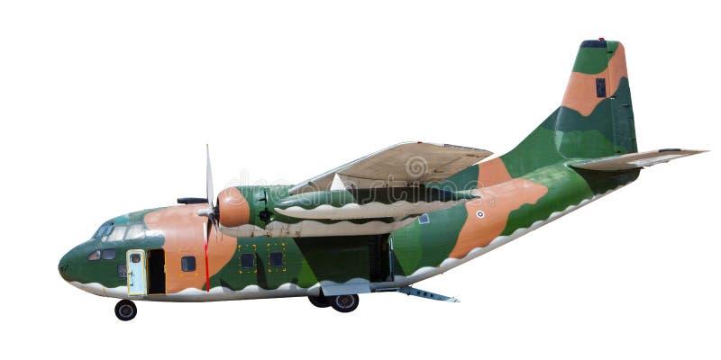 Fondo blanco aislado avión militar pesado del envase imagenes de archivo
