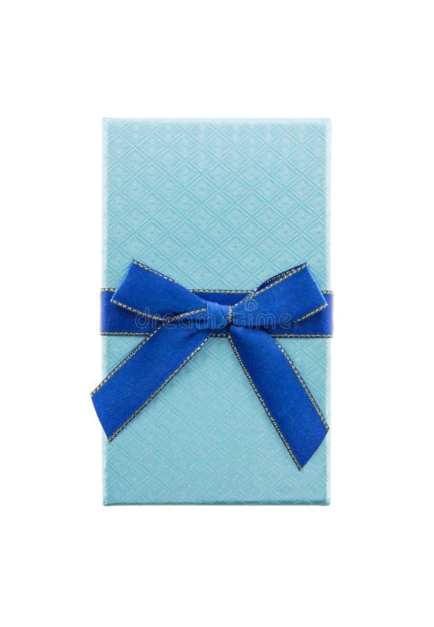 Fondo blanco aislado azul de la caja de regalo imagen de archivo libre de regalías