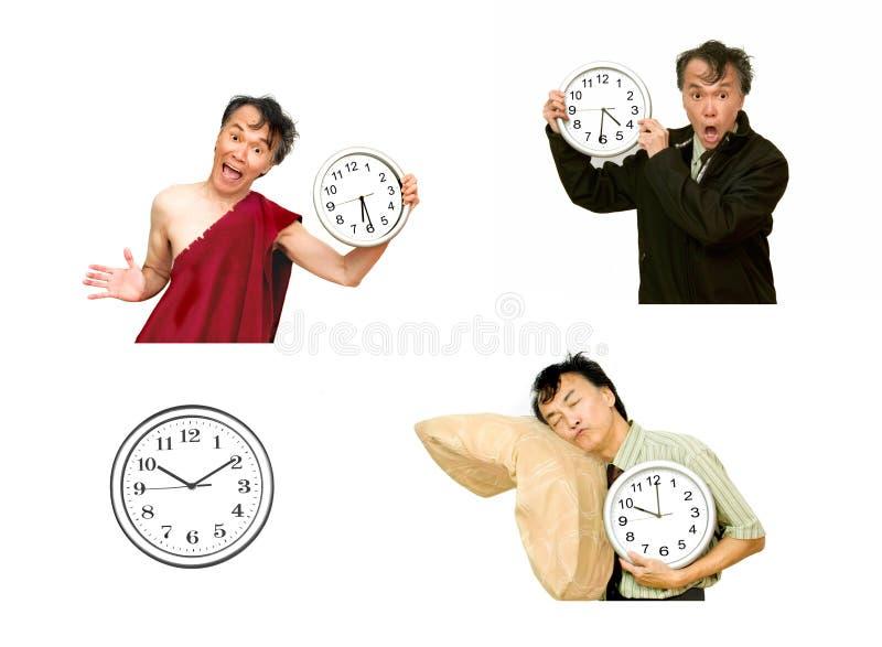 fondo blanco aislado del reloj de tiempo del hombre imagen de archivo