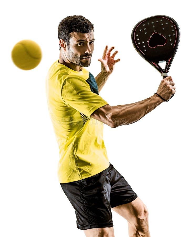 Fondo blanco aislado hombre del jugador de tenis de Padel imagen de archivo