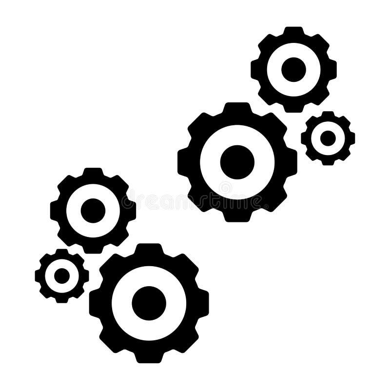 Fondo blanco aislado icono de los engranajes ilustración del vector