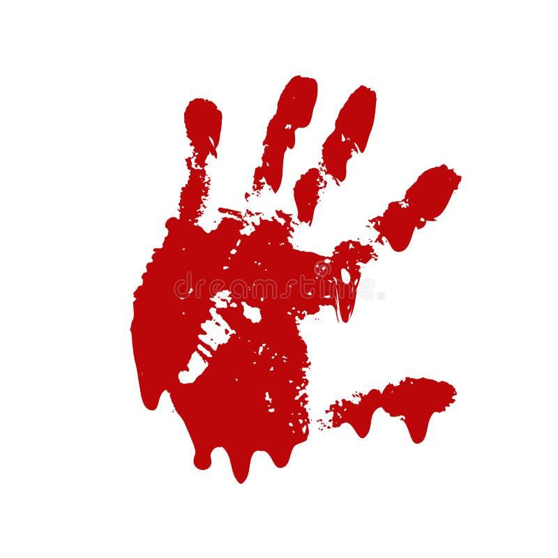 Fondo blanco aislado impresi?n sangrienta de la mano Handprint sucio de la sangre asustadiza del horror, huella dactilar Palma ro ilustración del vector