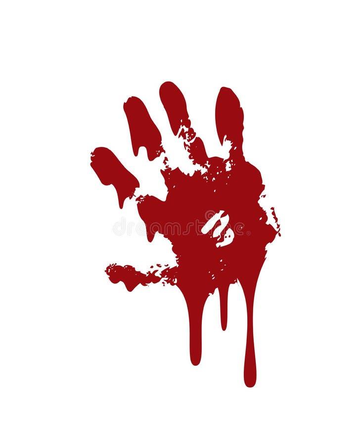 Fondo blanco aislado impresi?n sangrienta de la mano Handprint sucio de la sangre asustadiza del horror, huella dactilar Palma ro libre illustration
