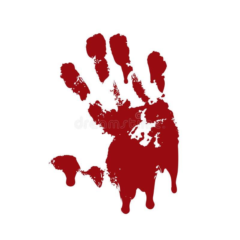 Fondo blanco aislado impresi?n sangrienta de la mano Handprint sucio de la sangre asustadiza del horror, huella dactilar Palma ro stock de ilustración