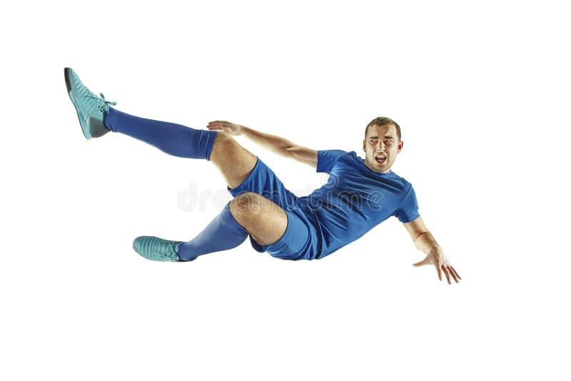 Fondo blanco aislado jugador de fútbol del fútbol profesional imagenes de archivo