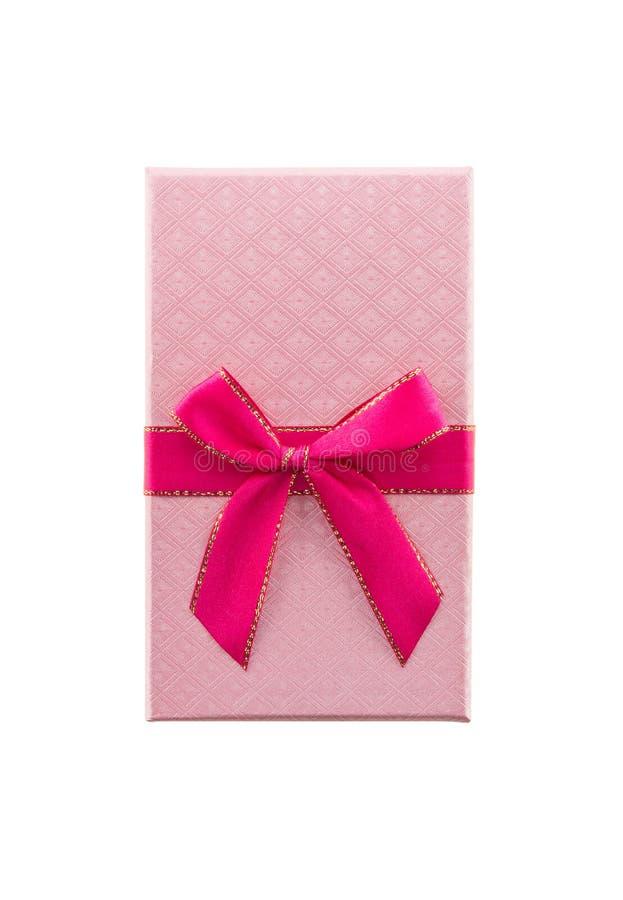 Fondo blanco aislado rosado de la caja de regalo imágenes de archivo libres de regalías