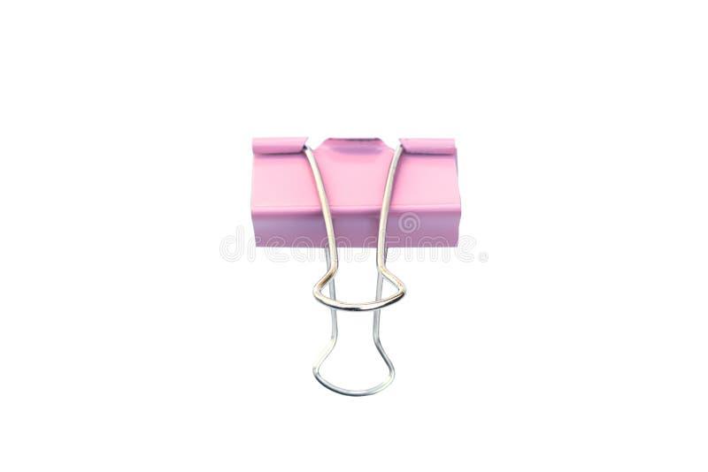 Fondo blanco aislado rosado del clip de papel fotografía de archivo