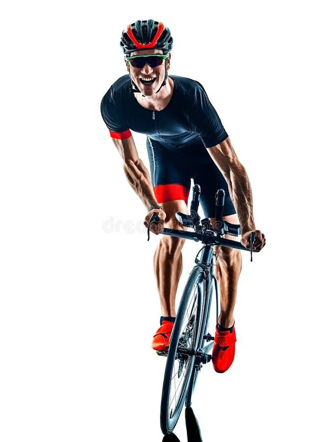 Fondo blanco aislado silueta de ciclo del ciclista del triathlon de Triathlete imágenes de archivo libres de regalías