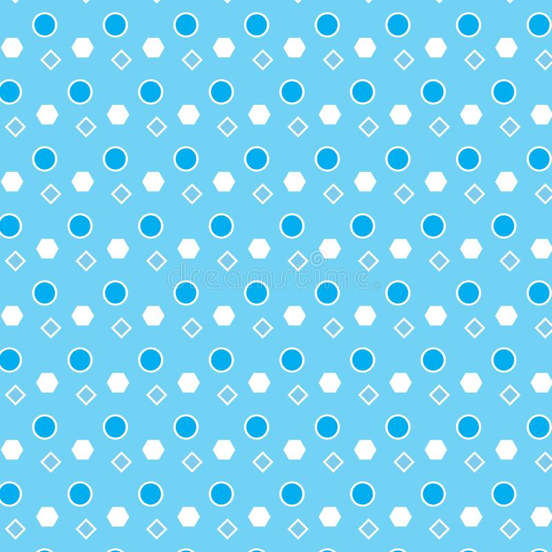 Fondo blanco azul del azul del modelo de la forma del polígono del diamante del círculo stock de ilustración