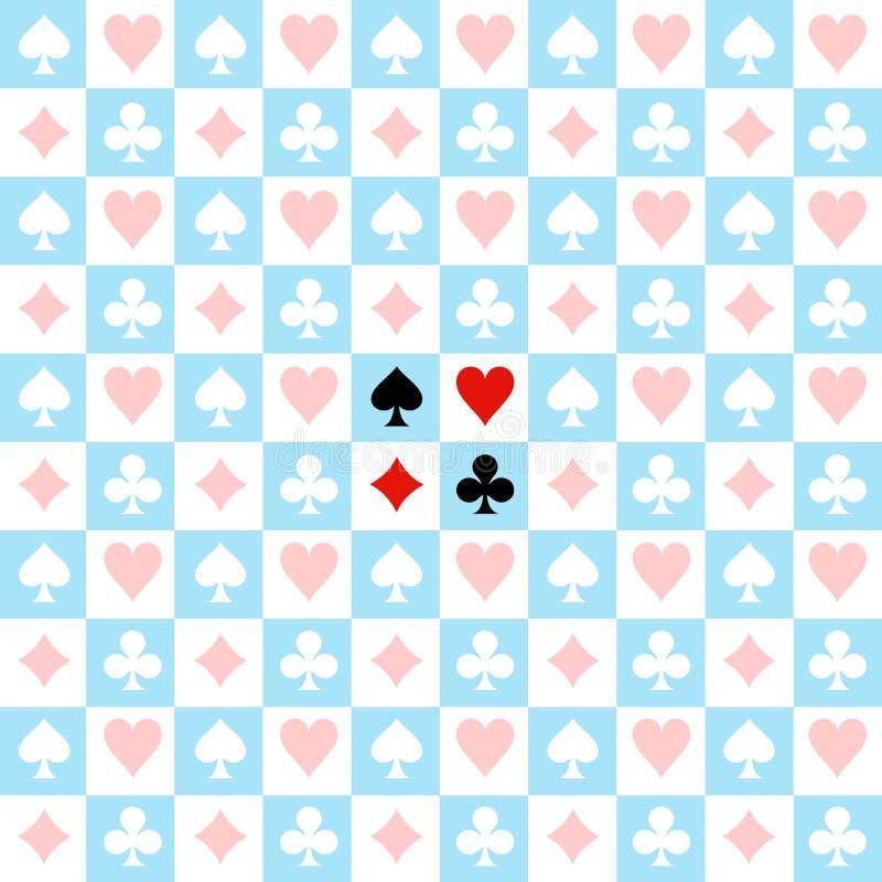 Fondo blanco azul del tablero de ajedrez del traje de la tarjeta ilustración del vector