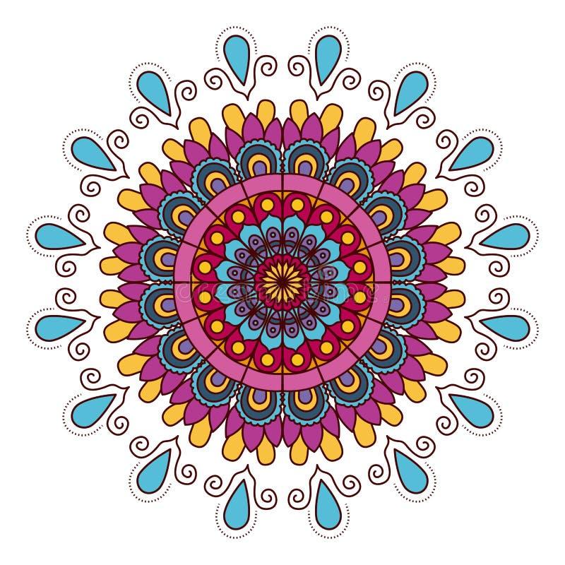 Fondo blanco con el ornamento decorativo de los descensos de la flor del vintage colorido de la mandala libre illustration