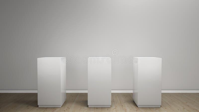 Fondo blanco con el pedestal stock de ilustración