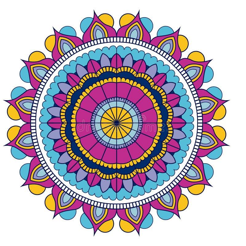 Fondo blanco con el vintage ornamental colorido de la mandala de la flor decorativo ilustración del vector