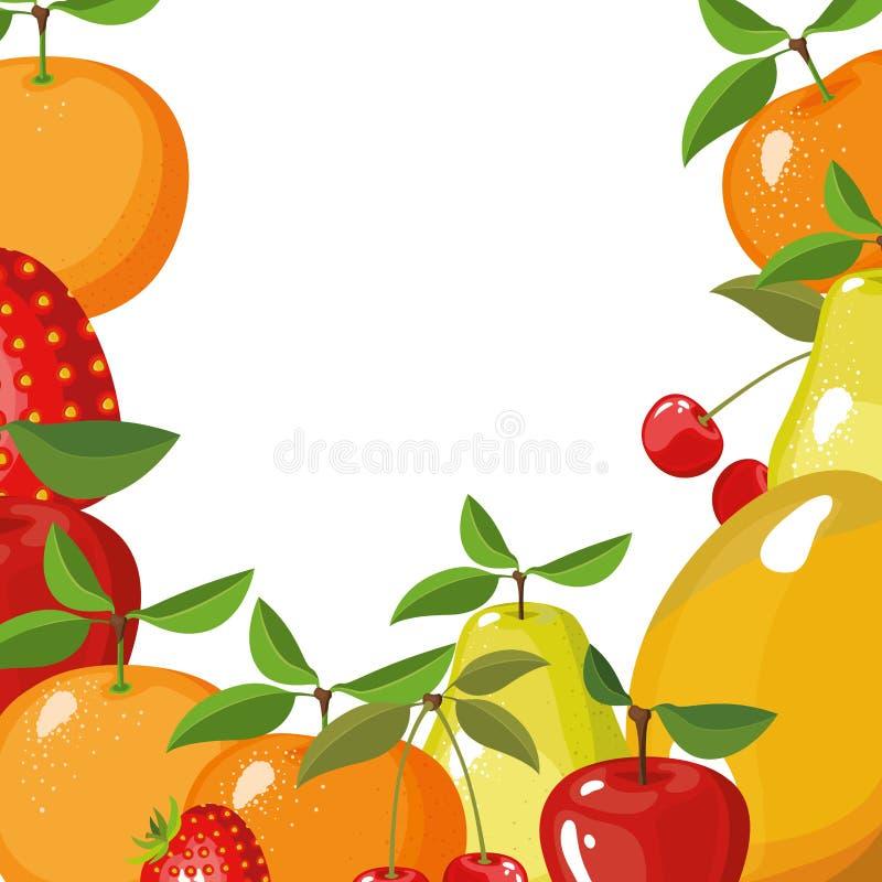 Fondo blanco con la frontera de diversos tipos de frutas deliciosas libre illustration