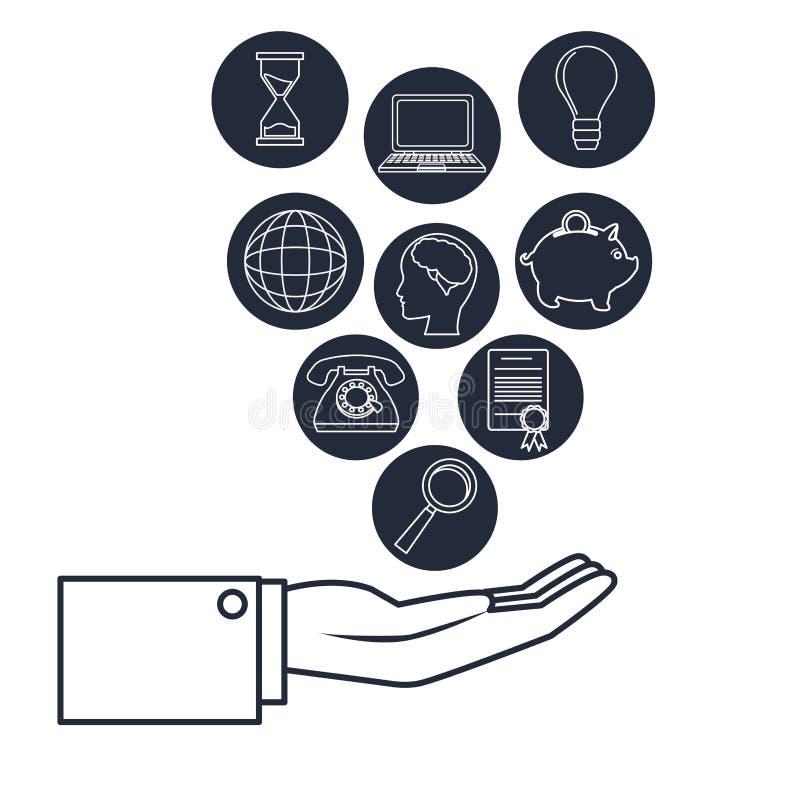 Fondo blanco con la mano ejecutiva de la silueta azul marino que lleva a cabo la inversión empresarial de los iconos stock de ilustración