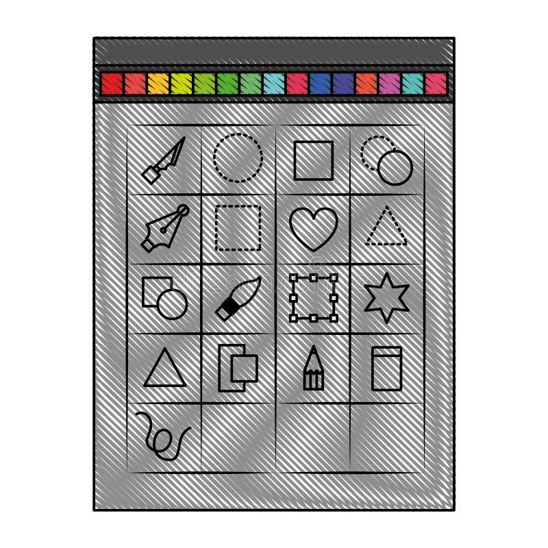 Fondo blanco con la silueta coloreada del creyón de la caja de herramientas para el gráfico del diseñador stock de ilustración