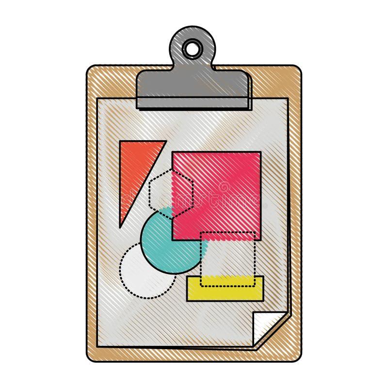 Fondo blanco con la silueta coloreada del creyón de la libreta de la tabla con la hoja y las formas geométricas stock de ilustración