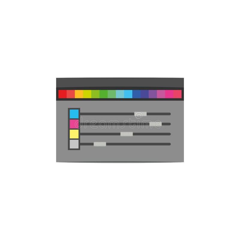 Fondo blanco con la silueta colorida de la herramienta de la paleta de colores para el gráfico del diseñador ilustración del vector