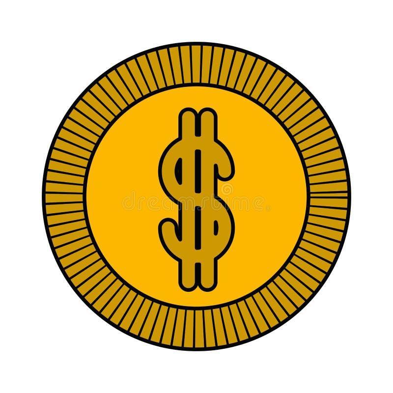 Fondo blanco con la silueta colorida de la moneda con contorno grueso libre illustration