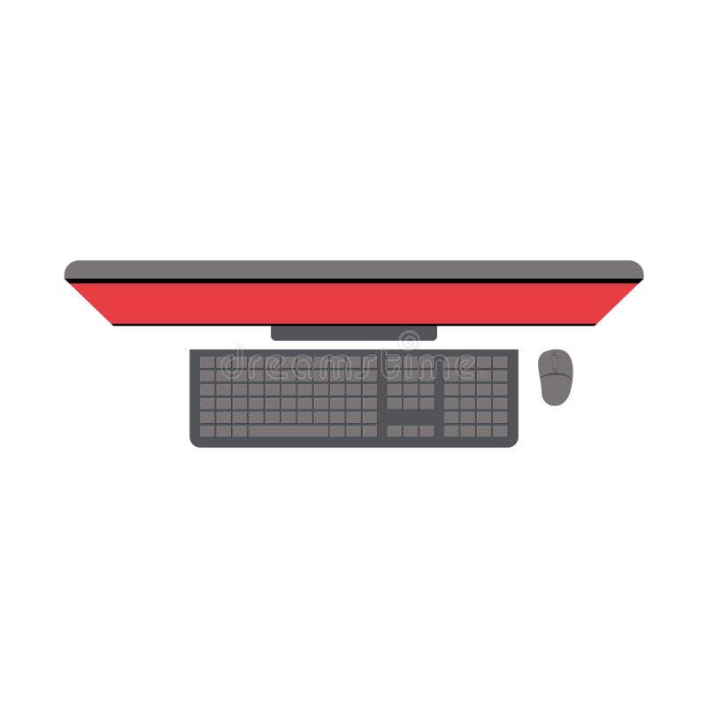 Fondo blanco con la silueta colorida del equipo de escritorio en la visión superior stock de ilustración