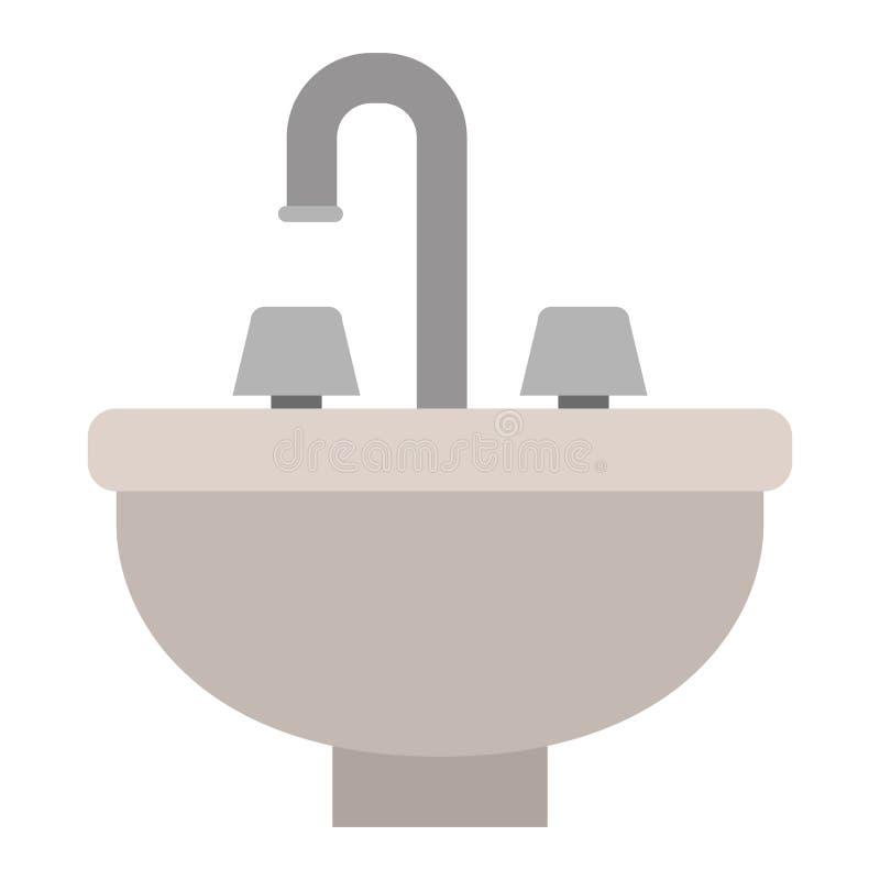 Fondo blanco con la silueta del color del icono del lavabo stock de ilustración