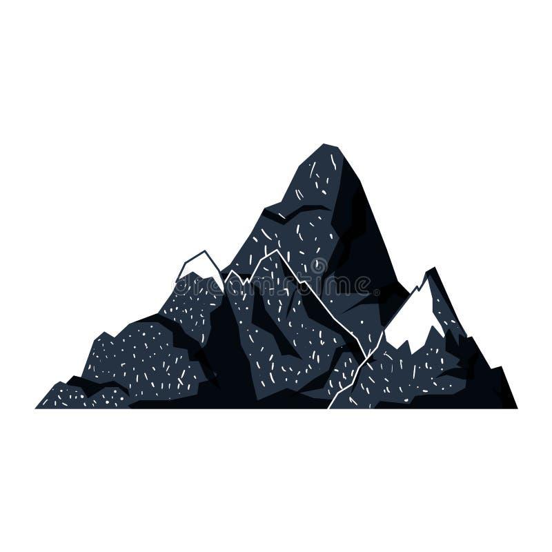 Fondo blanco con la silueta exhausta de la mano azul marino de la colina con nevoso máximo ilustración del vector