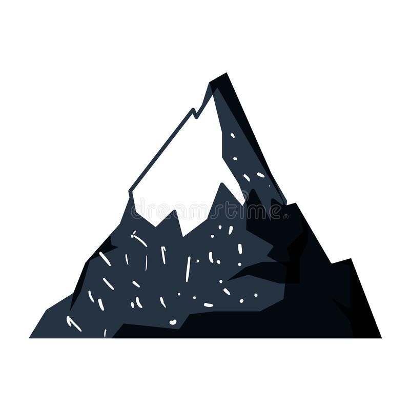 Fondo blanco con la silueta exhausta de la mano azul marino de la montaña nevosa libre illustration