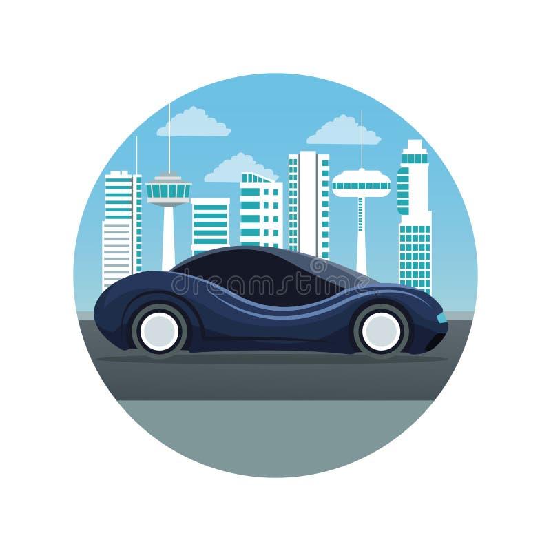 Fondo blanco con la silueta futurista del paisaje de la ciudad del marco circular con el coche moderno azul marino del deporte co ilustración del vector