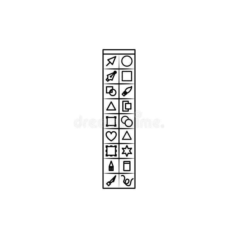 Fondo blanco con la silueta monocromática de la caja de herramientas básica para el gráfico del diseñador stock de ilustración