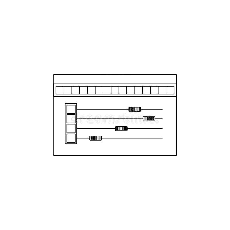Fondo blanco con la silueta monocromática de la herramienta de la paleta de colores para el gráfico del diseñador stock de ilustración