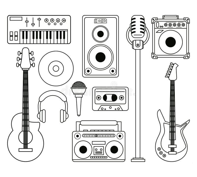Fondo blanco con la silueta monocromática de instrumentos musicales y de dispositivos del aparato de lectura ilustración del vector