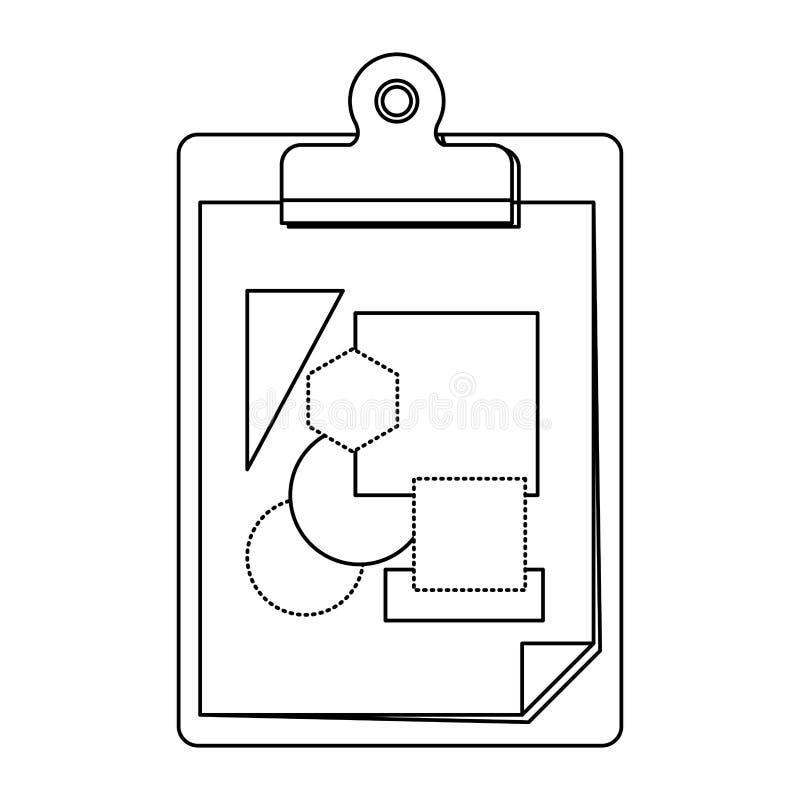 Fondo blanco con la silueta monocromática de la libreta de la tabla con la hoja y las formas geométricas stock de ilustración