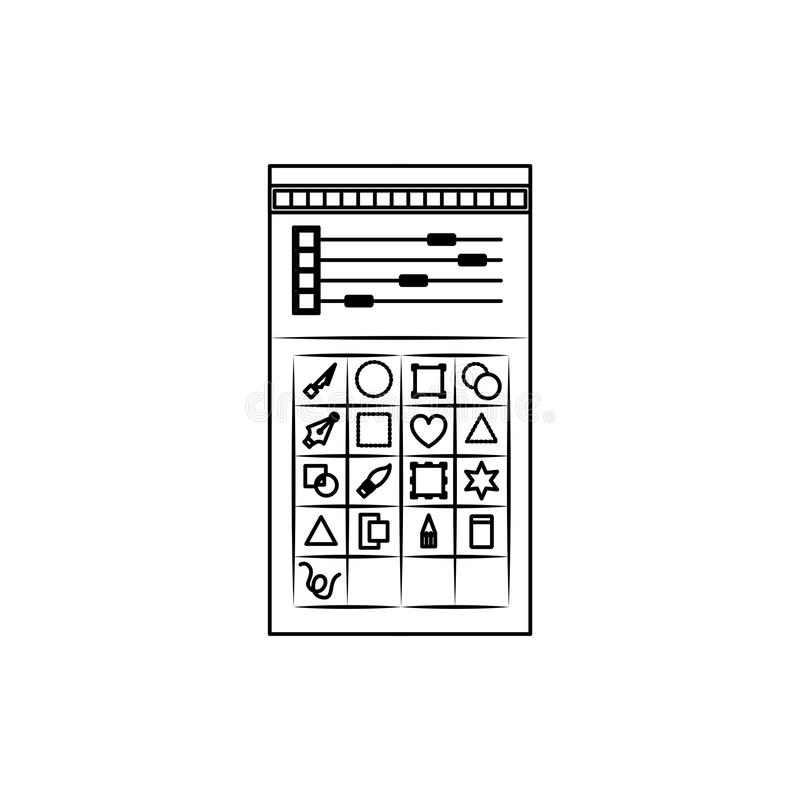 Fondo blanco con la silueta monocromática de la paleta de colores y de la caja de herramientas para el gráfico del diseñador ilustración del vector