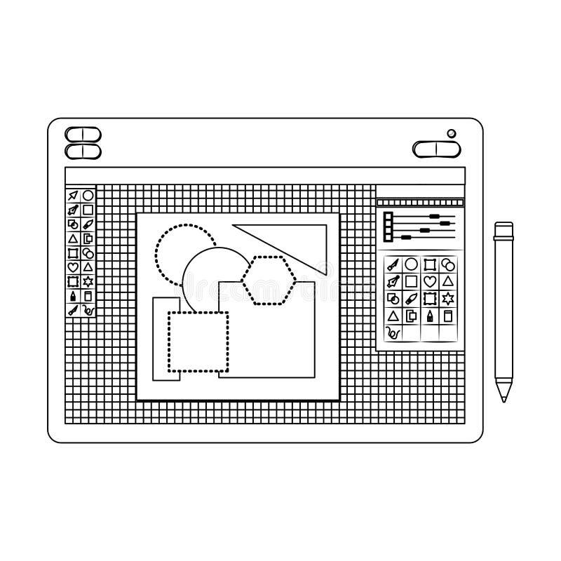 Fondo blanco con la silueta monocromática de la tabla gráfica de los diseñadores con las figuras geométricas libre illustration
