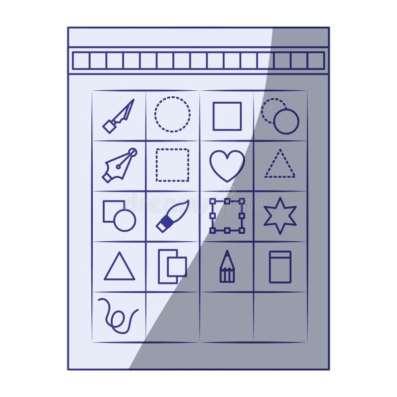 Fondo blanco con la silueta que sombrea azul de la caja de herramientas para el gráfico del diseñador libre illustration