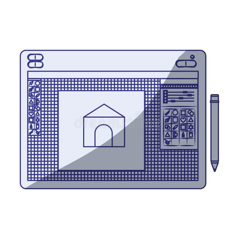 Fondo blanco con la silueta que sombrea azul de la tabla gráfica de los diseñadores con el diseño de casa libre illustration