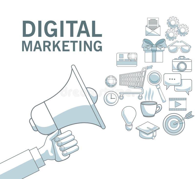 Fondo blanco con las secciones del color de la mano que sostienen el megáfono del texto digital del márketing de los iconos de la ilustración del vector