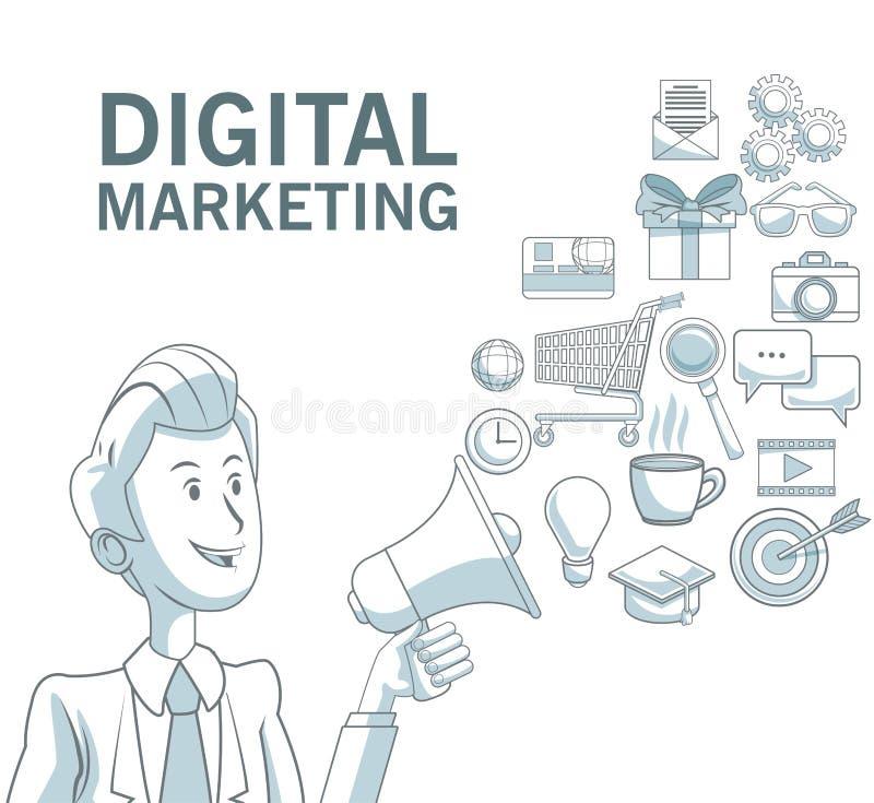 Fondo blanco con las secciones del color del hombre de negocios que sostienen el megáfono del texto digital del márketing de los  ilustración del vector